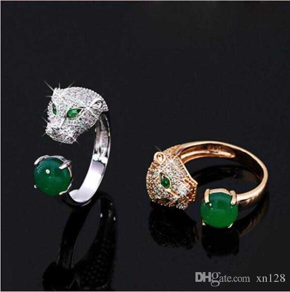 Fine Jewelry Leopard Head Ring S925 Sterling Silver Inlaid Green