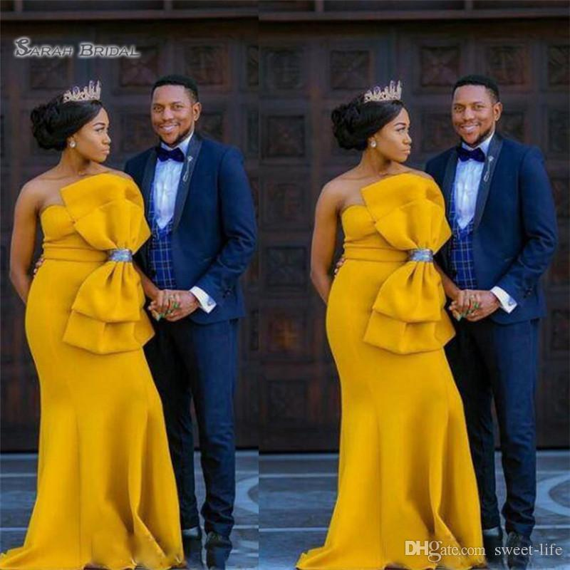 21fc13474d26f 2019 Arabia Big Bow Mermaid Prom Dresses African Satin Strapless Evening  Gowns Dubai Yellow Floor Length Formal Party Dress From Sweet Life, ...