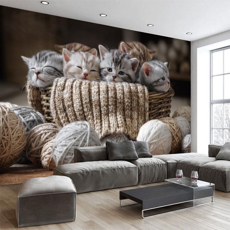 Custom 3d Wallpaper Cute Small Cats Tv Sofa Background Wallpaper