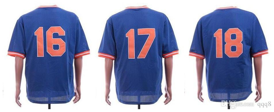 Retro New York Jersey 18 Darryl Strawberry 16 Dwight Gooden 17 Keith  Hernandez Blue Mesh Baseball Jersey Toronto Blue Jays Sf Giants Jersey  Boston Red Sox ... 0569b957279