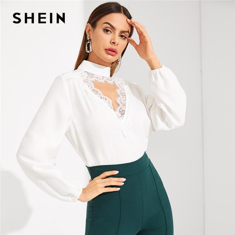 06e60352ccf460 2019 SHEIN White Choker Neck Eyelash Contrast Lace Trim Cut Out Plain Top  Women Regular Fit 2019 Spring Going Out Tops And Blouses From Balsamor