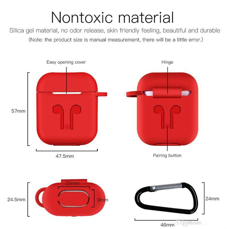 For Apple AirPods Protective Shockproof Silicone Case Pouch With Anti-lost Strap Dust Plug For TWS Bluetooth Earphone Retail Package MQ100
