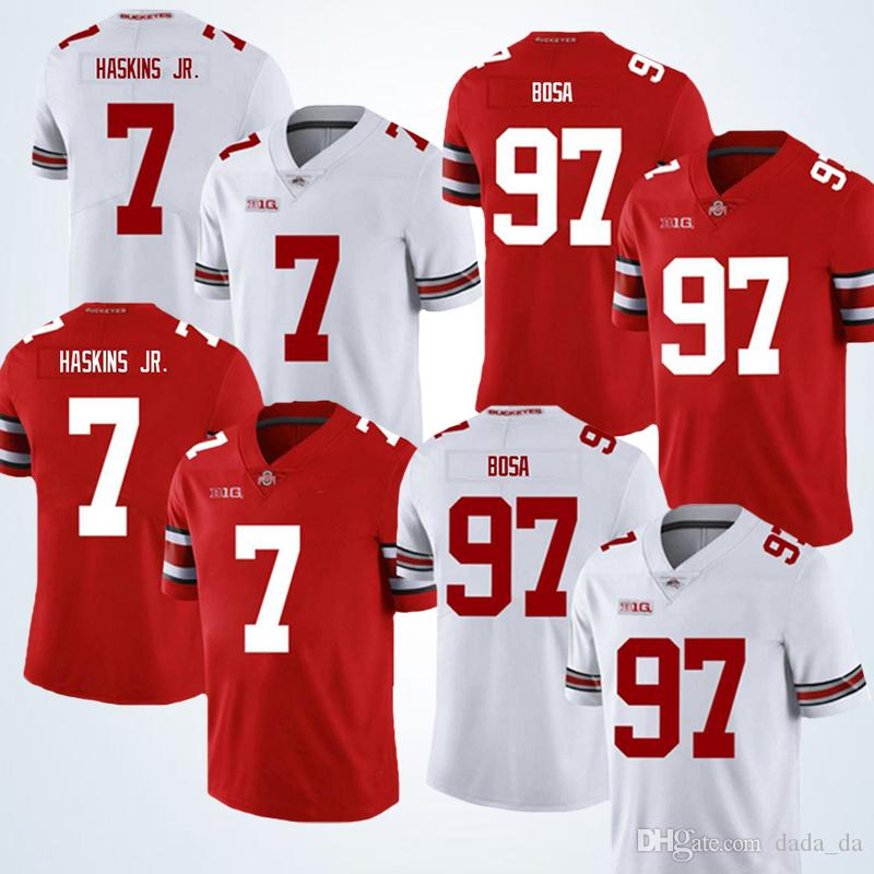 finest selection 06e81 d87d8 The new 2019 NCAA 7 Dwayne Haskins Jr jersey 97 Nick Bosa Ohio State White  and red Buckeyes jerseys Special sales jerseys