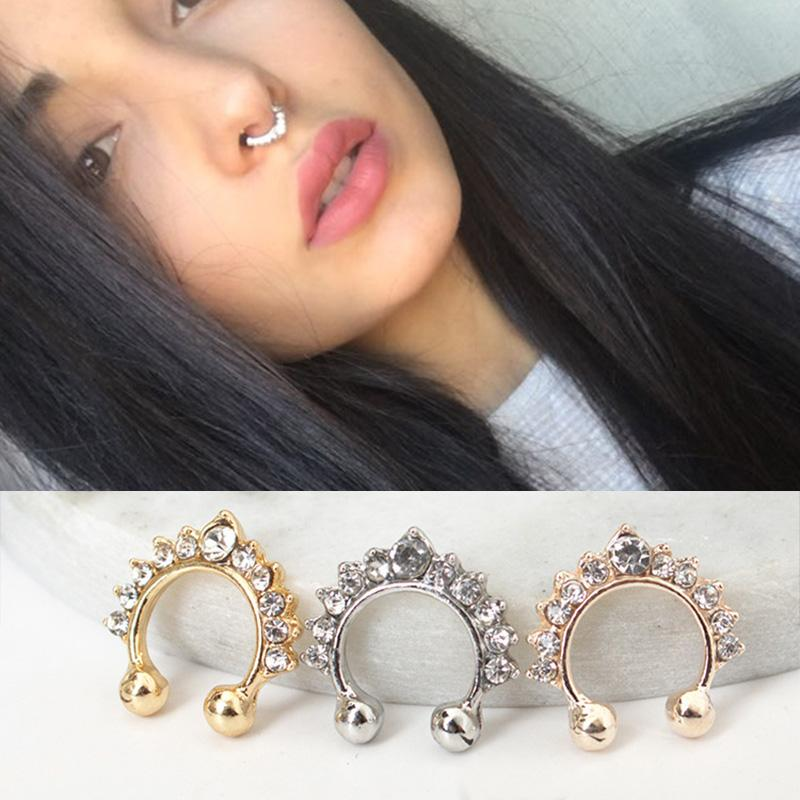 Crystal Hoop Fake Nose Ring Women Jewelry Rose Gold Silver Nose Piercing Fake Piercing Septum Hanger Jewelry Stud