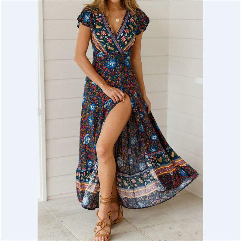 4eddc0d33 Vestido de las mujeres de Moda de Verano Largo Maxi Vestidos Floral Print  Cotton Sexy Robe Sin Espalda Boho Hippie Chic Vestidos Ropa