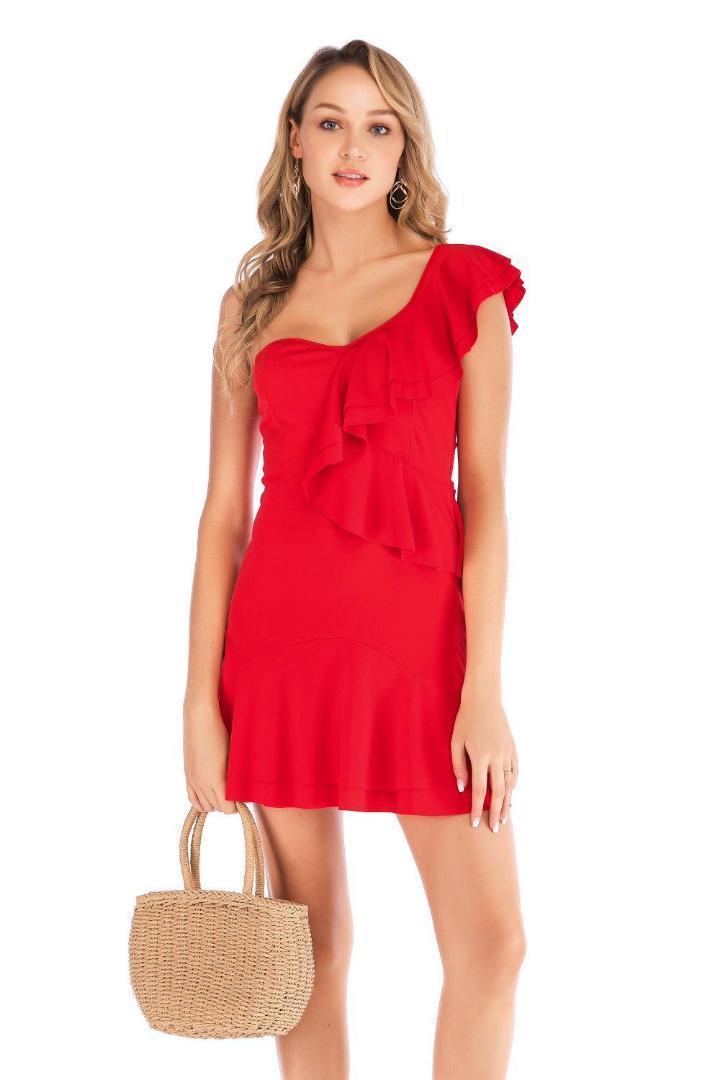 30a7dc5a5 Compre AliExpress Ebay 2019 Verano Nuevo Vestido Con Cuello Alzado  Inclinado Vestido Con Volantes Temperamento De Alta Gama A  36.25 Del  Decbeer