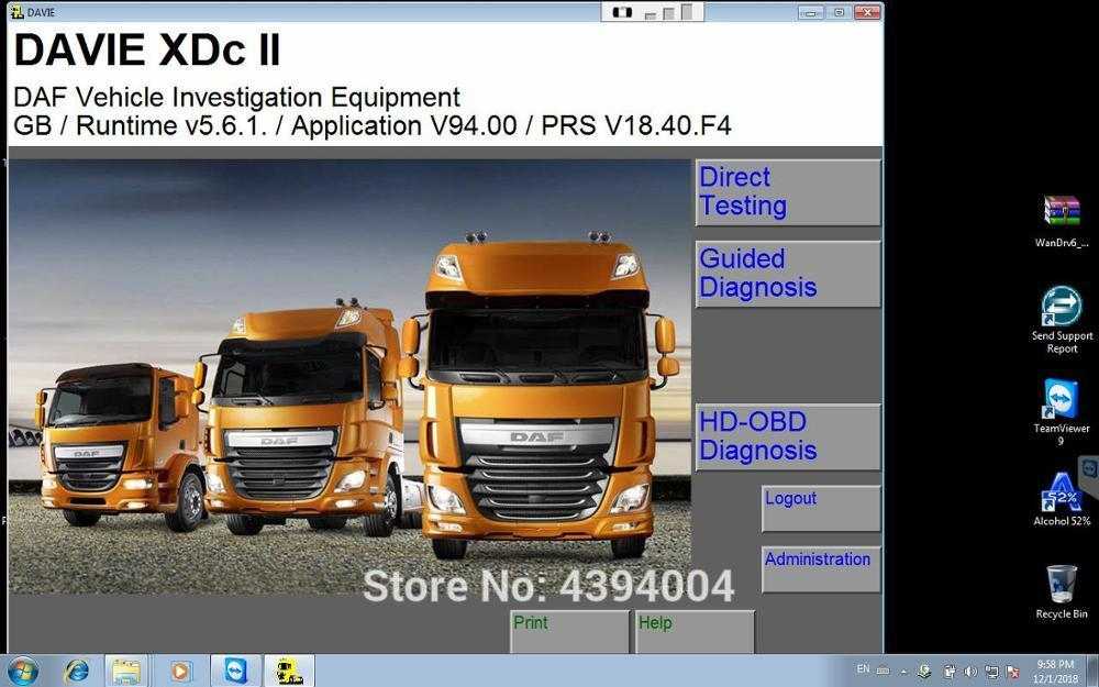 2018 year Newest DAF Davie Runtime 5 6 1 for paccar and DAF engine  diagnostic software license Expire Fix 302 00 Keygen