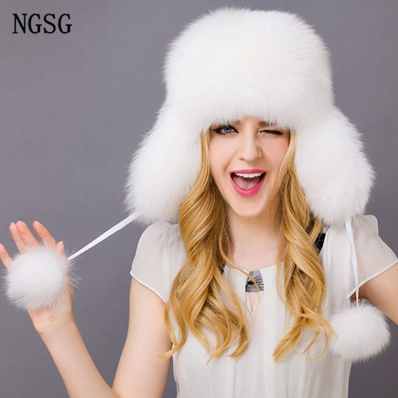 6bbc1b534c7 Russian Winter Real Fur Bomber Hats for Women Ladies Genuine Leather ...