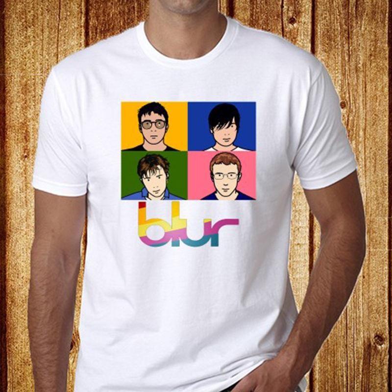 336d2624a New Blur English Rock Band Men's White T-Shirt Size S-3XL Free Shipping T  Shirts O-Neck Tops Hot Sell 2018 Fashion