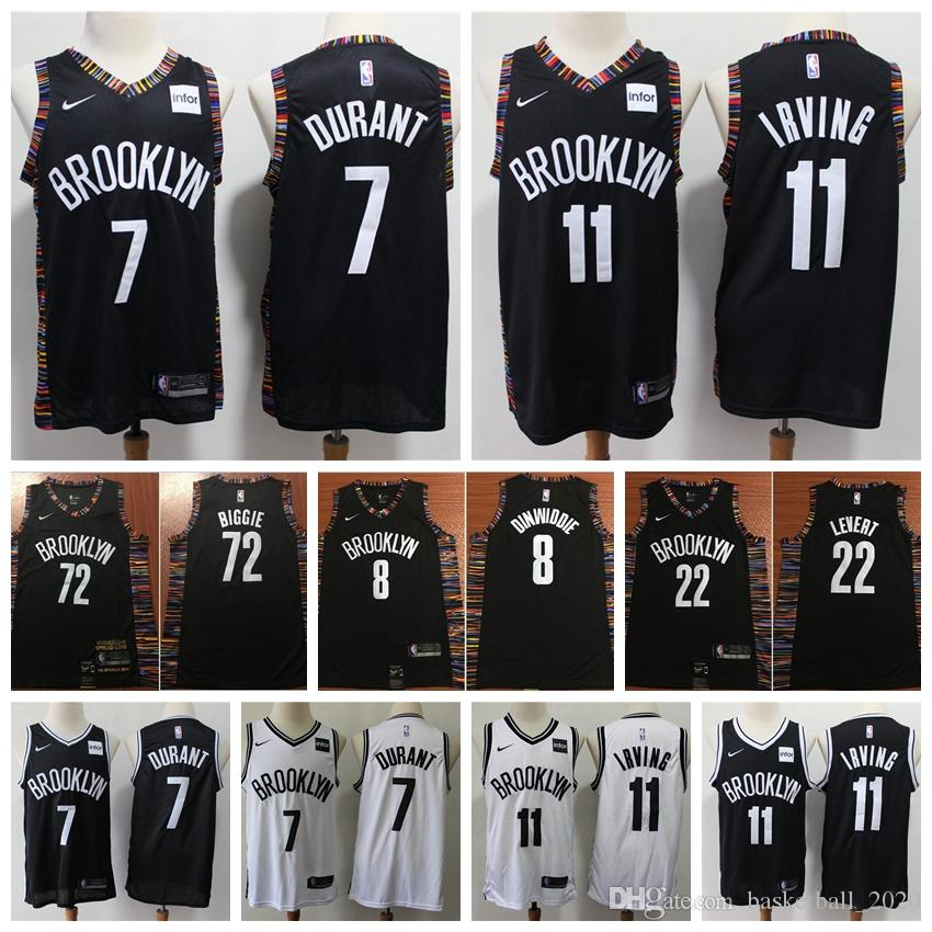 finest selection becbc c637d 2020 Mens 11# Kyrie Irving 35# Kevin Durant 22 Caris LeVert 8 Spencer  Dinwiddie 72 Biggie Brooklyn Swingman Jersey Nets Basketball Jersey