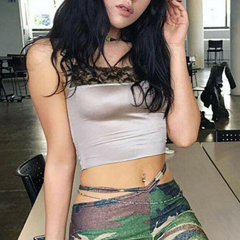 Mulheres Sexy Top Curto Leopard Camis Lace Vest Bandage Regatas mangas magros shirt Vestuário Casual Moda de Nova 2019