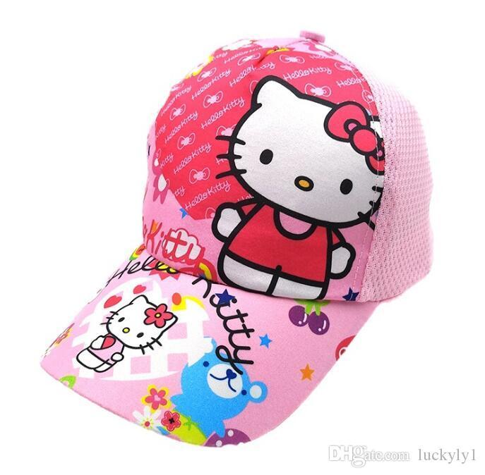 6eeeb0b58 2019 New Cartoon Hello Kitty hat Children Cartoon Cotton Baseball Cap Kids  Hip Hop Cosplay Hat H013