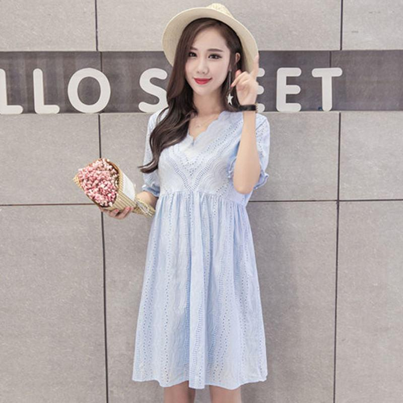 c8009f40810 2019 2019 New Summer Fashion Pregnant Women Lace Solid Dresses Maternity  Dresses For Photo Shoot Pregnancy Dress Clothes Vestidos S21 From  Breadfruiter