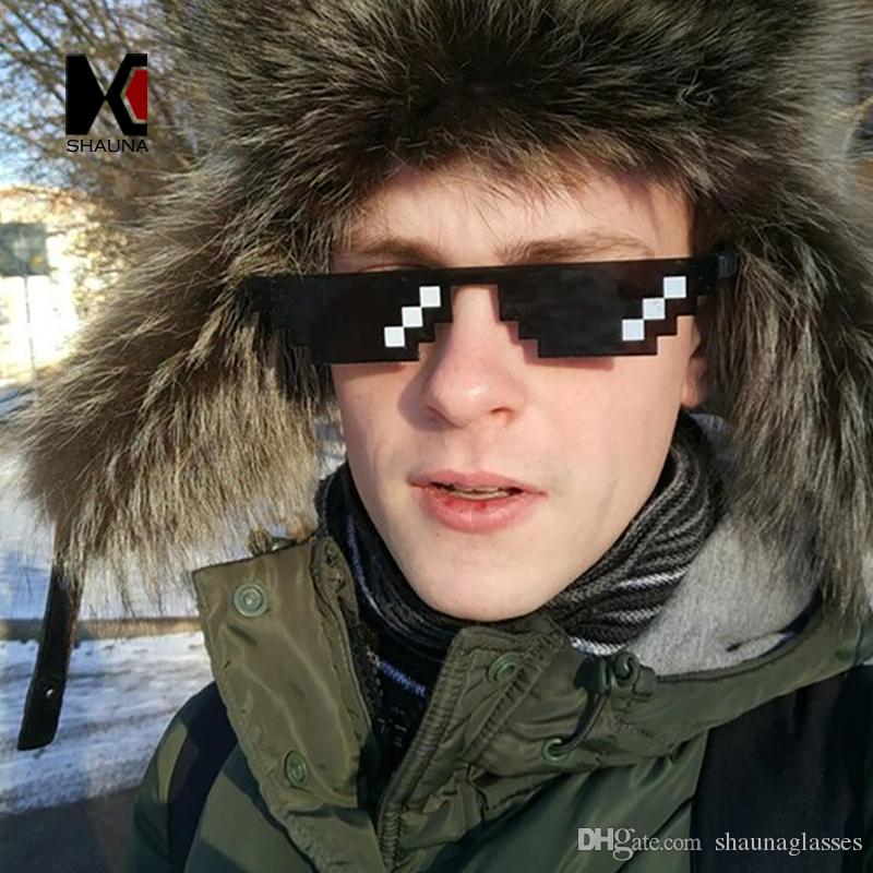 8242d91629c6 SHAUNA Wide Deal With It Sunglasses Funny Mosaic Thug Life Sun Glasses 8  Bit Pixel Small Sunglasses UV400 Cheap Designer Sunglasses Sunglasses From  ...