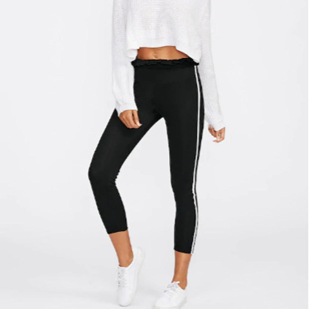 Ruffled women Hot Yoga Pants Black Sport White Line Push Up Gym Exercise High Waist Fitness Running Athletic Trousers