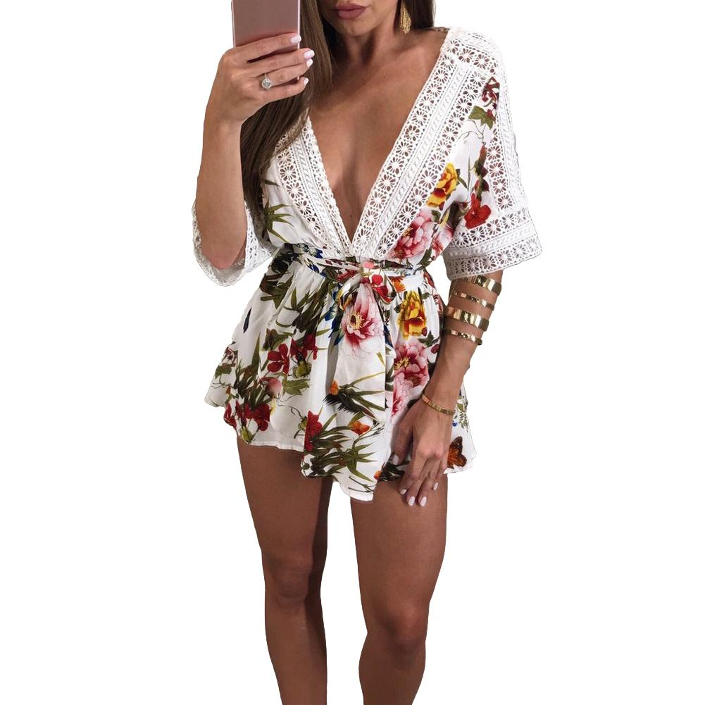 bcee03492f 2019 Women Summer Beach Playsuit Floral Print Plunge V Crochet Lace Short  Jumpsuit Cut Out Backless Elastic Waist Tie Sexy Clubwear From Bibei02