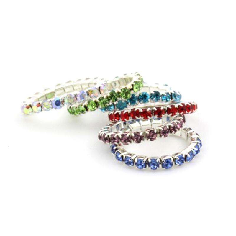 Venta al por mayor caliente 12PCS / SET Mix Color Crystal Rhinestone Anillos de dedo para mujeres Anillos de dedo del pie del estiramiento ajustable Foot Jewelry