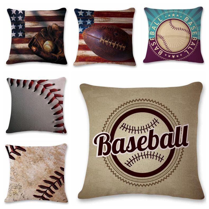 9 Styles 45*45cm Baseball Football Pillow Case Cotton Linen Square Cushion Sofa Car Livingroom Bedroom Pillow Covers CCA11133 50pcs