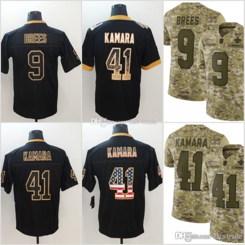 6d6755b03 2019 9 Drew Brees New Orleans Jerseys 41 Alvin Kamara Saints 2018 USA Flag Lights  Out Black Rush Drift Camo Salute To Service Olive Limited From Fair Trade,  ...