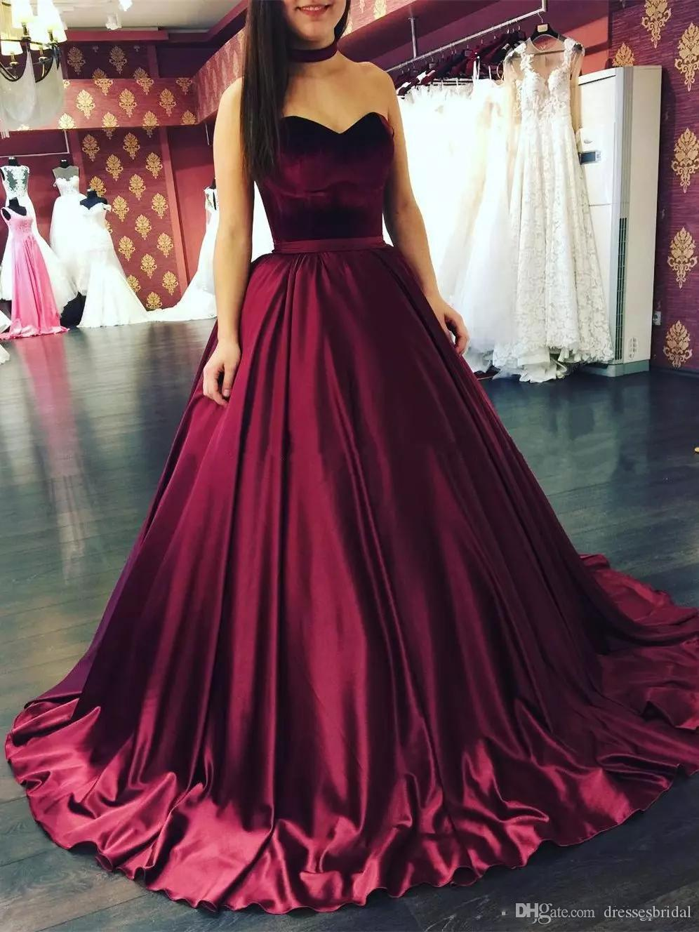 ba696f46 2019 Sweetheart Ball Gown Prom Dresses Satin Lace Up Back Chapel Train  Formal Evening Dresses Gowns Birthday Quinceanera Dresses Western Prom  Dresses Xscape ...