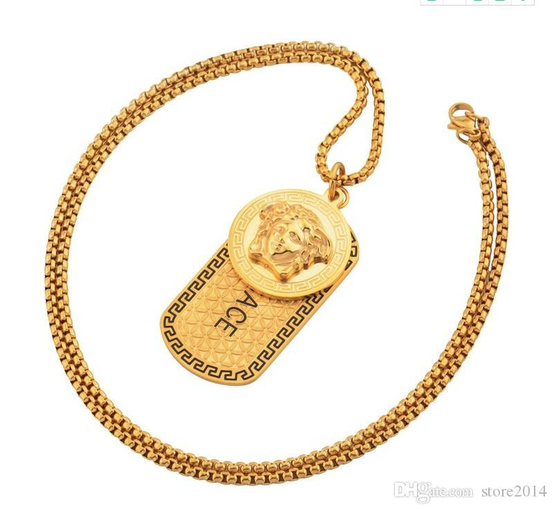 Stainless Steel Mens Luxury 18k Gold Punk Medusa Hip Hop Tag Necklace Head Portrait Pendant Neckalce Fashion Jewelry Accessories