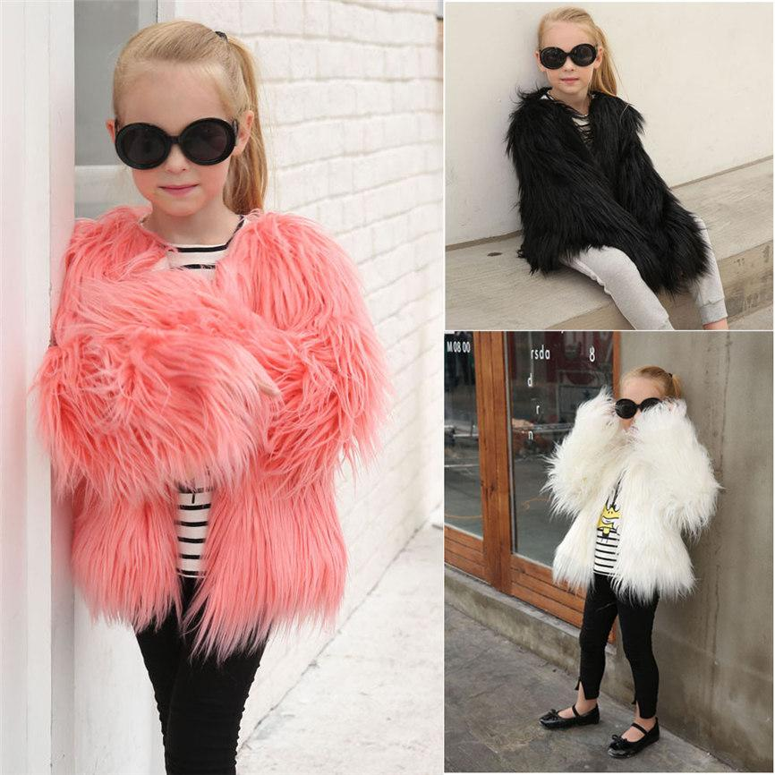 2018 Children Coat Girl Winter Clothes Baby Coat Kids Baby Girls Autumn Winter Faux Fur Coat Jacket Thick Outwear Clothes 823MX190916