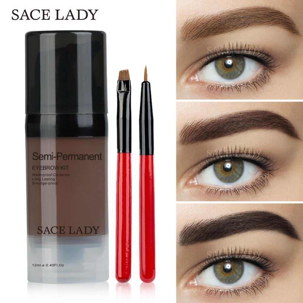 Sace Lady Eye Brow Dye Paint Waterproof Gel Make Up Pomade Brush Set Black Eyebrow Stamp Enhancer Pencil Kit Wax Cosmetic Makeup Reviews Websites