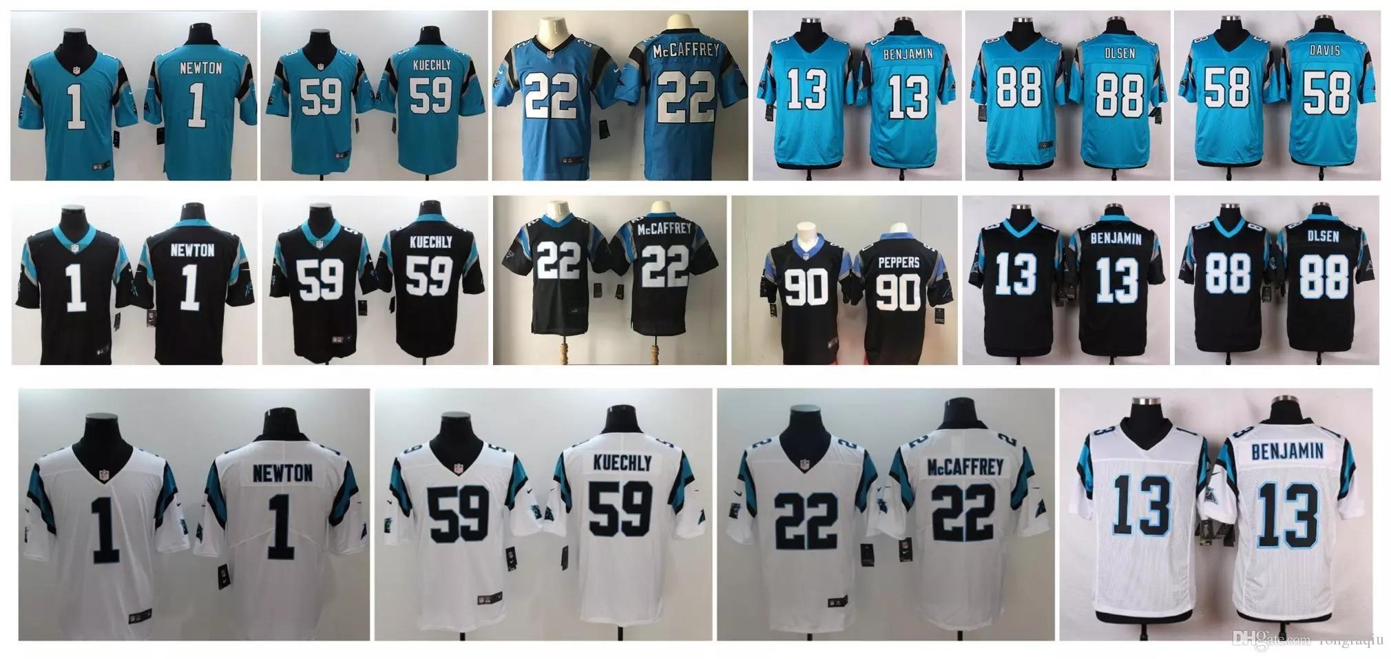 huge discount 6bb34 361f8 Carolina Panthers Jersey Men 22 Christian McCaffrey 1 Cam Newton Devin  Funchess Peppers women youth american Football Jerseys