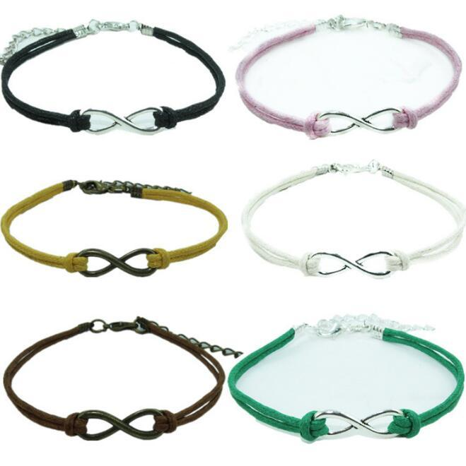 Infinity LOVE Bracelet Mixed Colour Bracelet Tibetan Silver Fashion Bracelet Wax Cord Bangle Men Woman Friendship Gift Jewelry