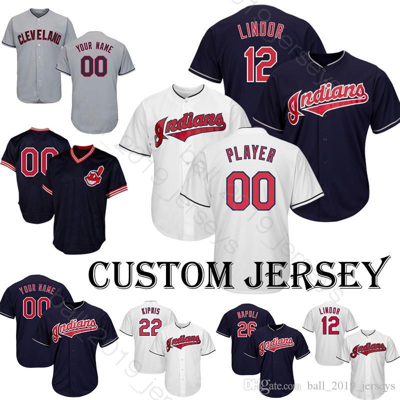 best service d7488 6e981 Indians jersey 12 Francisco Lindor jersey Baseball Custom jersey 1 Allen 47  Bauer 10 Bauers 57 Bieber 59 Carrasco T shirt