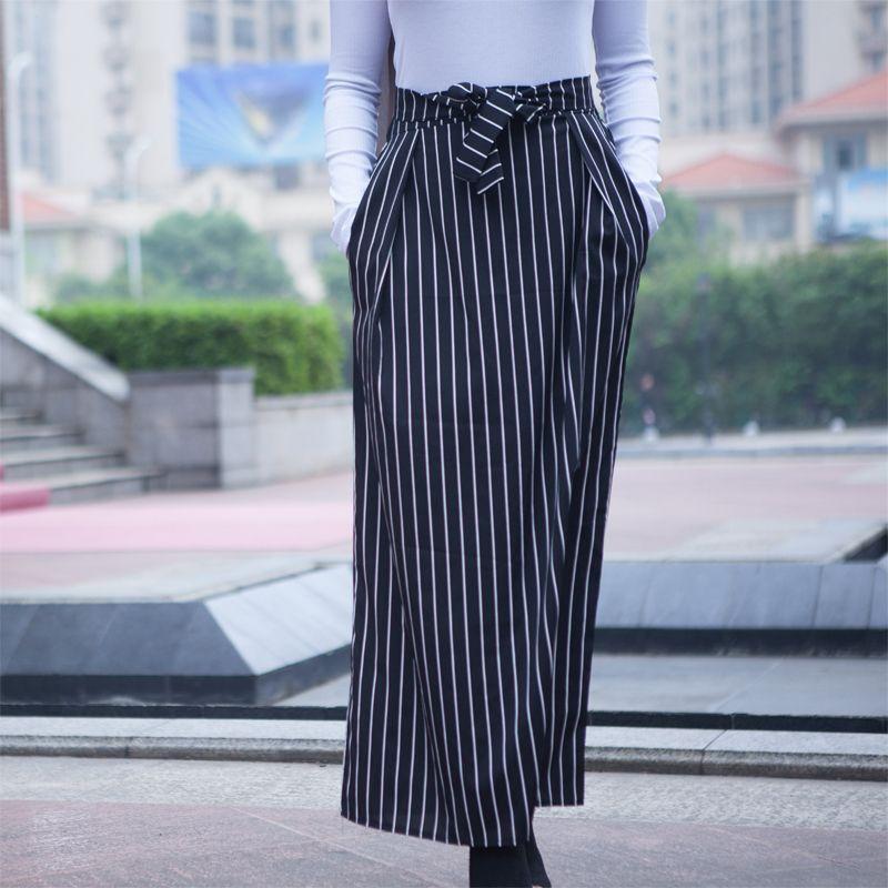 a5196268c9fe24 Plus Size Faldas Mujer Moda 2019 Abaya Muslim Striped Print Long Elasticity  A-line Maxi Skirt Women Skirts Jupe Longue Femme Y19043002