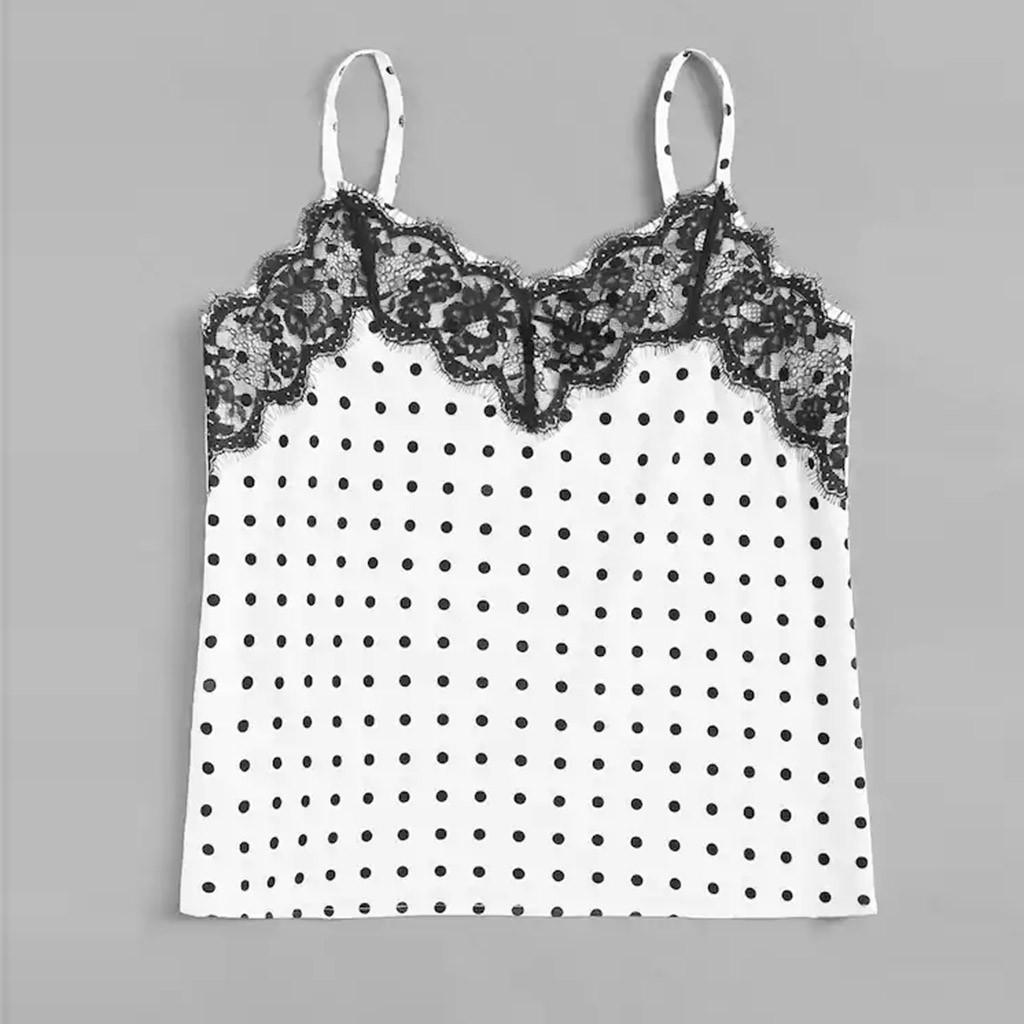 f1cd0c864bc 2019 2019 Summer Crop Top Sexy Women Bandage Lace Bralette Strappy Crochet  Cropped Blusas Lace Up Polka Dot Tank Tops Camisole Black From Qackwang