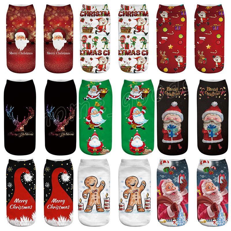 3aa97bf575a Christmas Socks Women 3D Printed Socks 2019 New Year Gift Kawaii Calcetines  Femme Girls Cute Emoji Funny Sock Santa Claus Elk Snowman Best Holiday ...