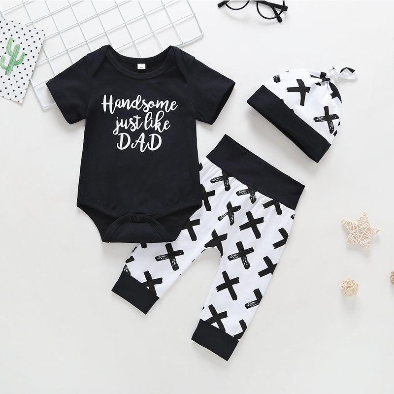 8ad647660ea 2019 Good Quality Summer Kids Boys Clothing Sets Casual Toddler Boys Letter  Rompers +Pants Suit +Hat Newborn Cotton Sports Outfits From Nextbest02