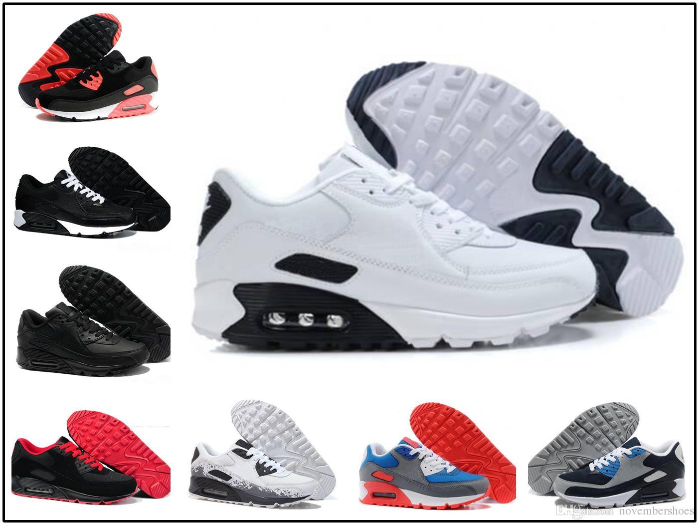 nike air max airmax 90 deporte para hombre zapatos clásicos hombres mujeres zapatillas negro rojo blanco entrenador deportivo superficie de colchón de