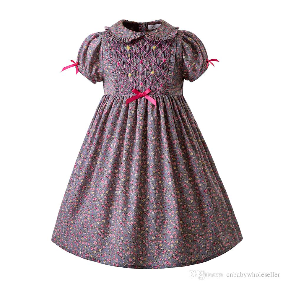 98e92962e268f Pettigirl Fashion Floral Smocking Baby Girls Dress Easter Smocking Outfits  With Bows For Girls Kids Boutique Clothing G-DMGD108-B405