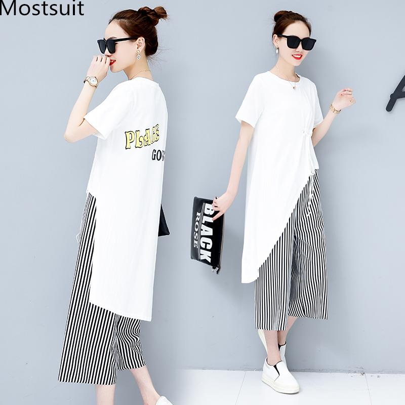 7716c217c00 2019 Summer Casual Two Piece Sets Women Black White Short Sleeve Tshirt And  Striped Wide Leg Pants Sets Suits Plus Size Women S From Chencloth66