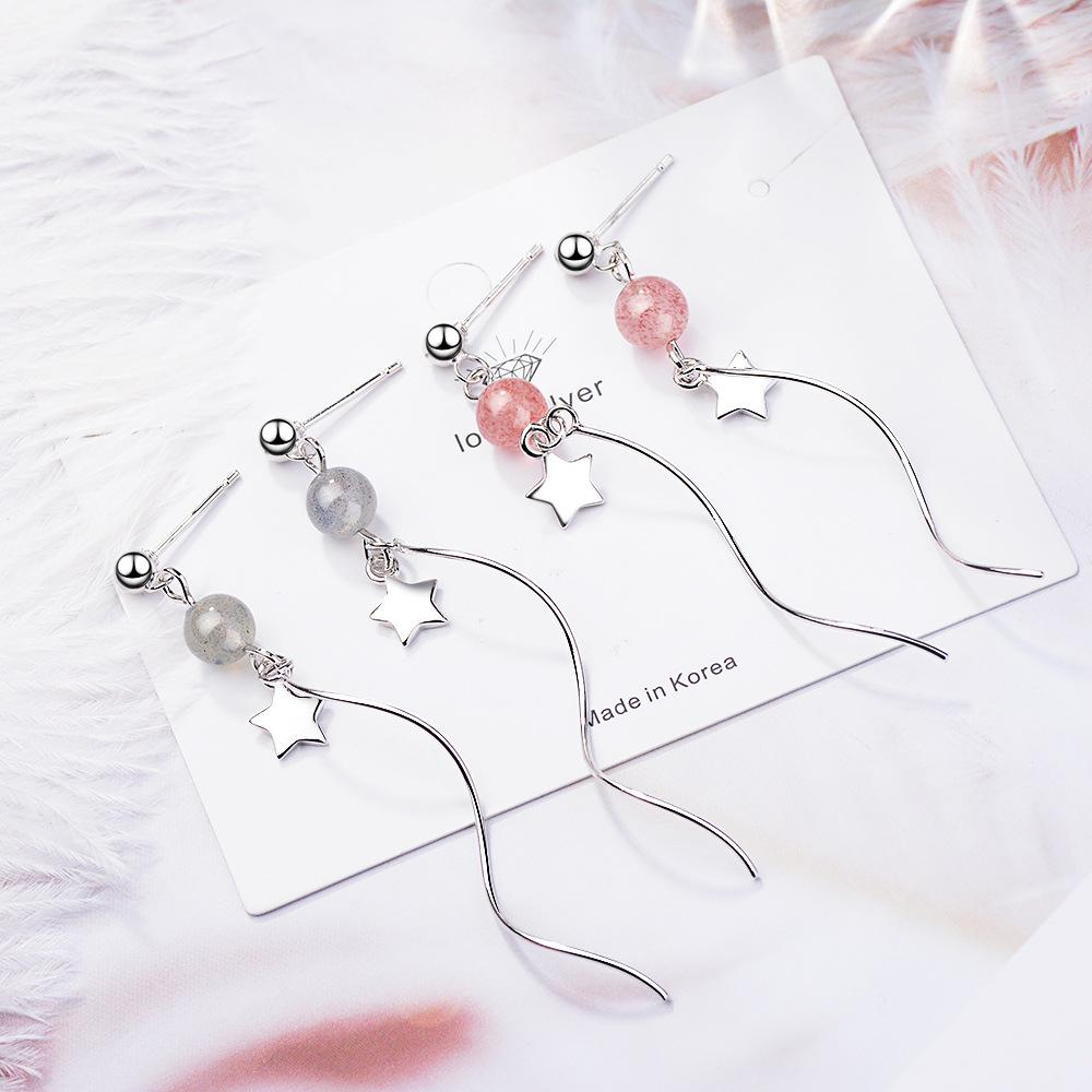 X Strawberry Crystal of Stud Earrings Womens Super Fairy Earrings Temperament Long Wave Ear Wire Pink Crystal Five-Pointed Star Recruit Peac