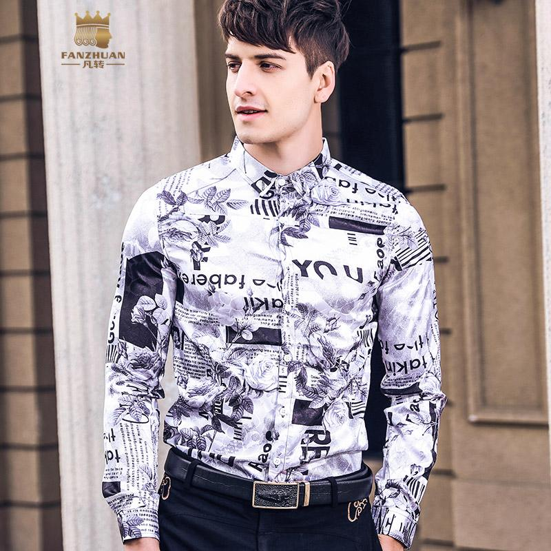 fe50900fa21 FANZHUAN 2019 Spring New Men s Male Man Casual LETTER Printed Shirts ...
