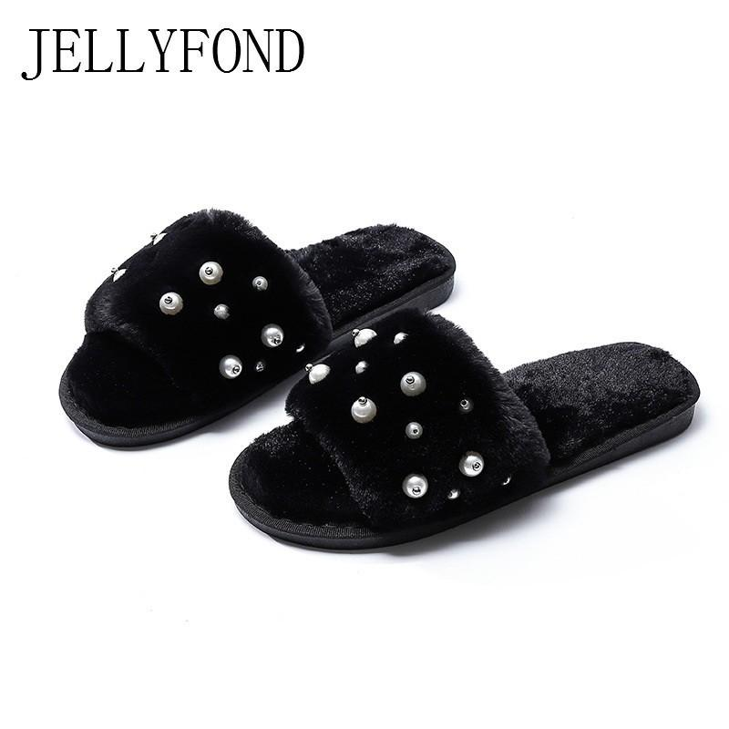bee5b0693db Pearls Faux Fur Winter Slippers Women Warm Home Shoes Woman Zapatos De  Mujer Indoor Flip Flops 2018 Shallow Plush Furry Slides Wedge Shoes Flat  Shoes From ...