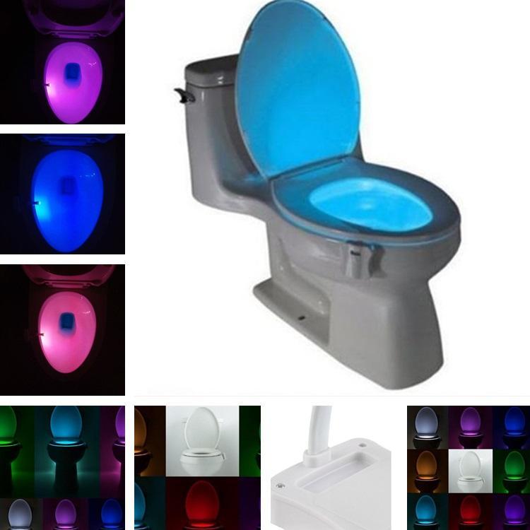 8 couleur nouvelle lampe à induction de toilette suspendu lumière de  toilette de toilette à induction de la lumière créative LED nuit T8I035