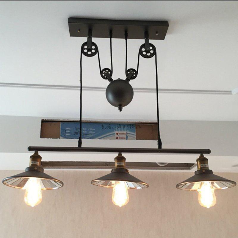 Acheter 3 Tetes Retro Ascenseur Lustre Salon Salle A Manger Lampe