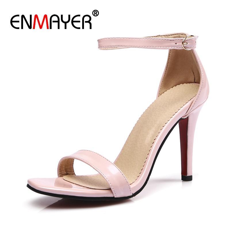 199bbd7f4 Compre ENMAYER Mulheres Verão Moda Sandálias De Salto Alto Casamento Básico  Sólida Sexy 4 Cores Da Mulher Sapatos Tamanho Grande 34 45 LY1566 De ...