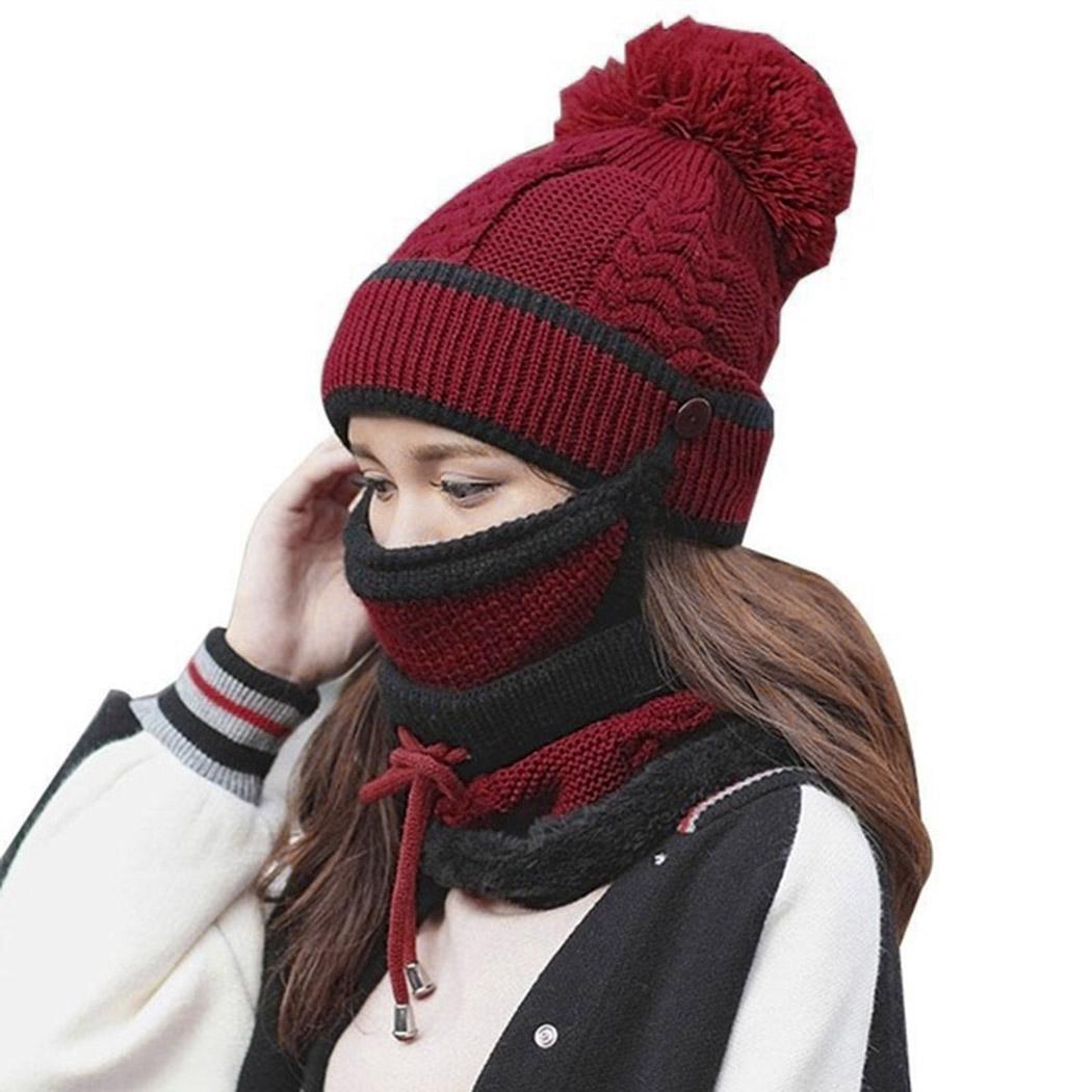 Compre Mujeres Sombrero De Invierno Bufanda Collar De La Máscara 3 Unids  Conjunto Gruesa De Lana Caliente De Punto Bufanda Protección Facial  Pompones Beanie ... 83cdb88d00b