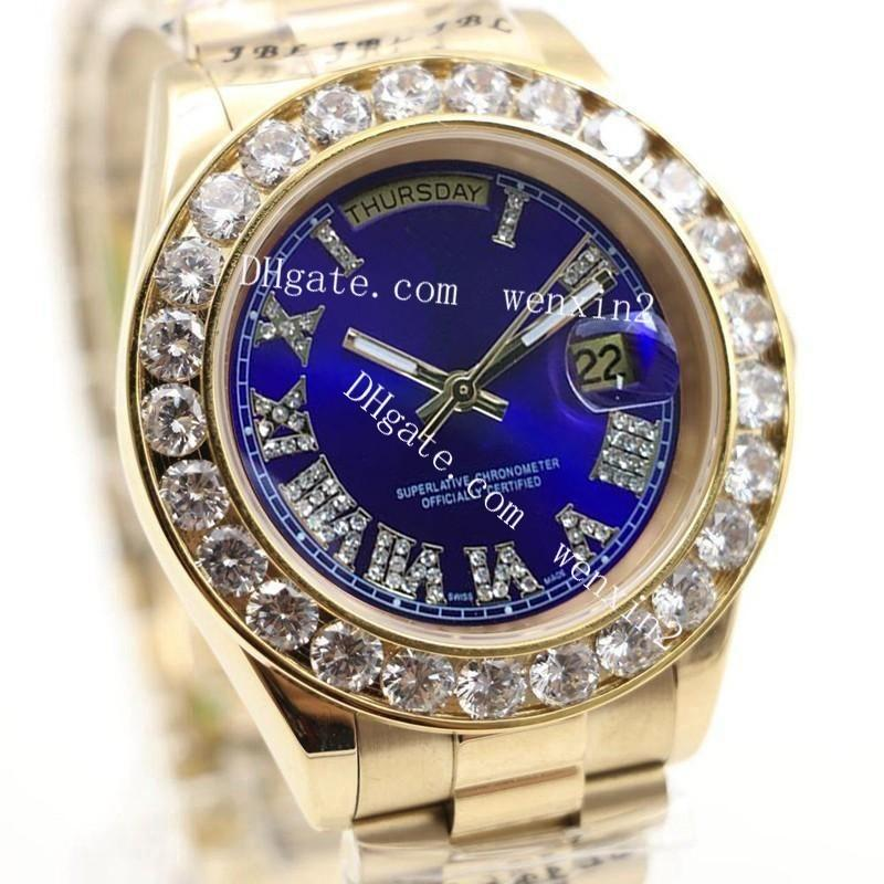 1 Color Luxury Watch 43mm 2813 Gold President Day-Date Diamonds Watch Men Stainless Roman BlueDiamond Bezel Automatic WristWatch