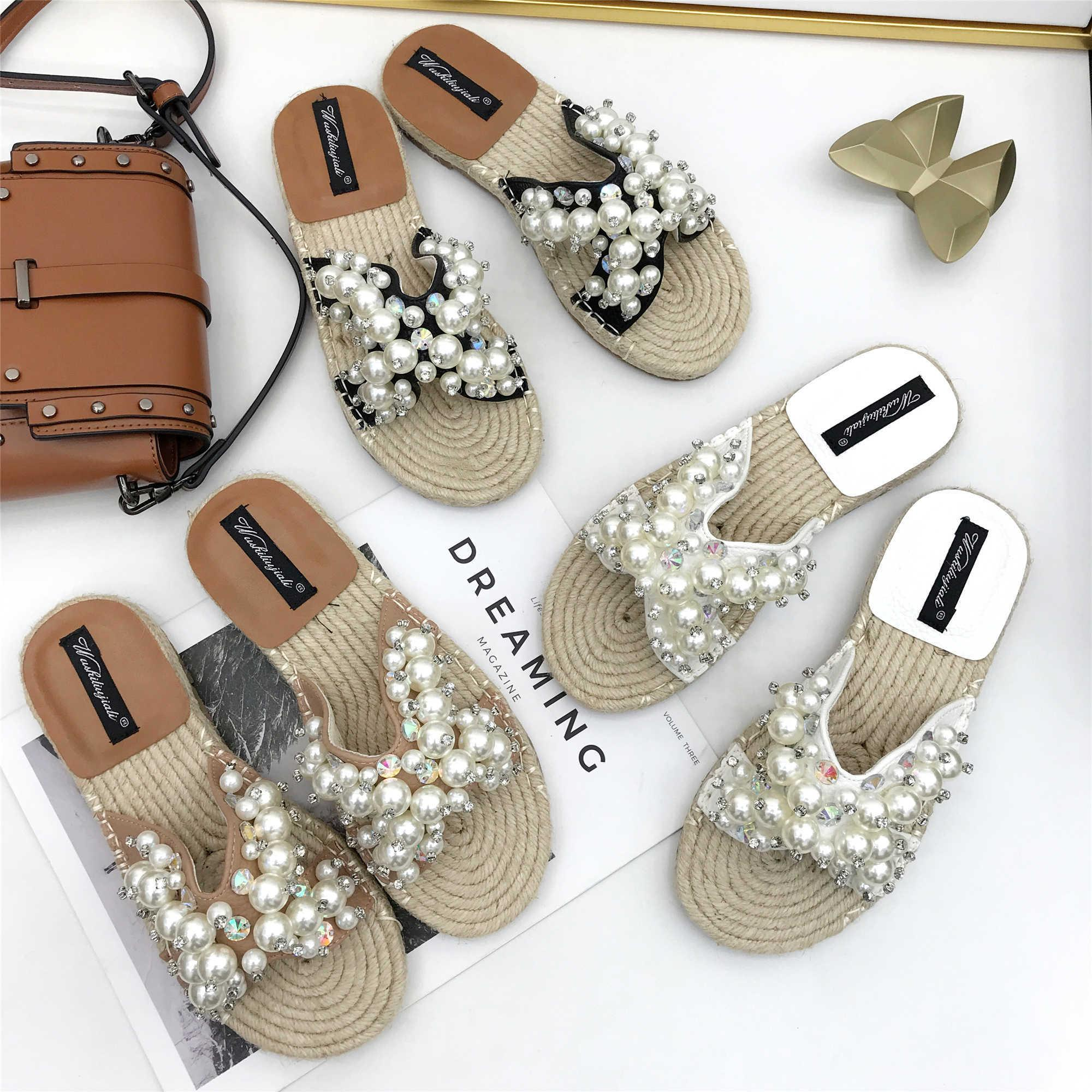 Crystal2019 Flat Bottom Rhinestone Pearl Slipper Woman One The Word Drag Sandy Beach Straw Plaited Article A String Of Beads Sandals