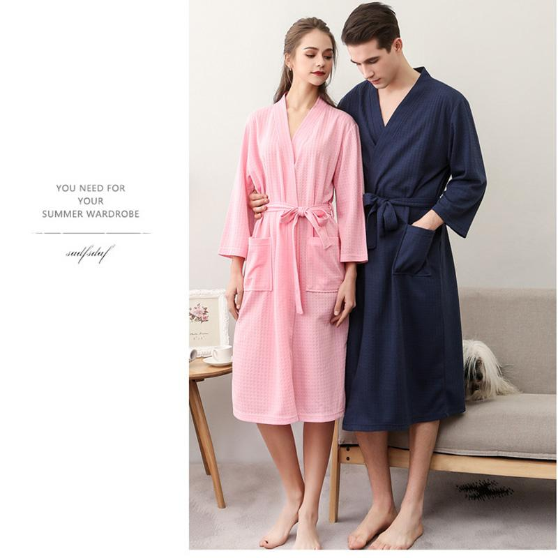 2019 Waffle Couple Nightgown New Bathrobe Seven Quarter Sleeve Bathrobes  For Men And Grils Waffle Bathrobes Pajamas Couple Set From Edwiin04 27eecd73a