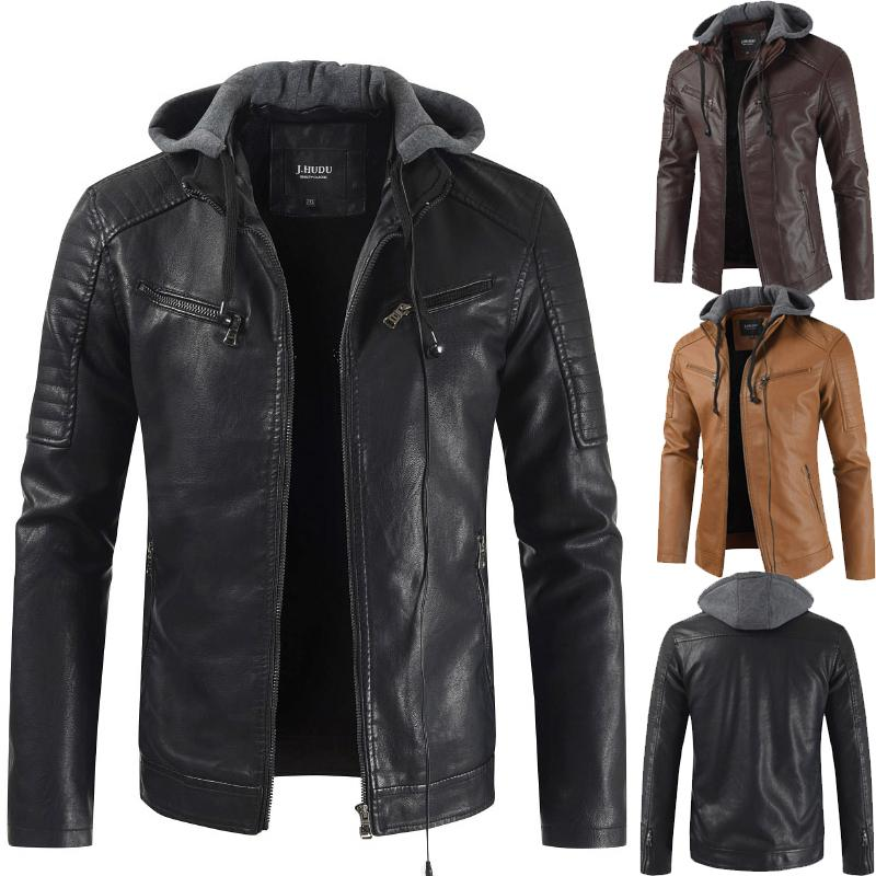 6f0ead3c4 Men s PU Jackets Coats Motorcycle Leather Jackets Autumn Men Leather  Clothing Male Casual Hooded Coats DL938