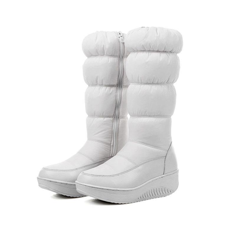 65c4c620 Compre Zapatos Calientes De Invierno Las Mujeres Piensan Botas Sobre La  Nieve Con Cremallera Por Encima De La Rodilla Rount Toe Tacones De Cuña  Plataforma ...