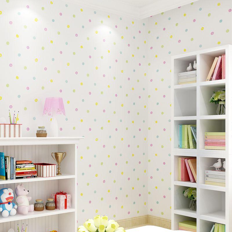 Cute Cartoon Kids Room Colorful Dot Wall Paper Baby Boys Girls ...
